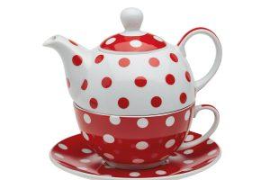 Set ceai cu buline rosii